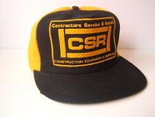 Vintage CSR Construction Hat Black Yellow Snapback Baseball Cap Made USA