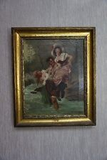 Signed A Domtus Antique Painting of 2 Women With Man