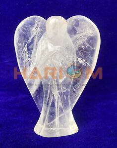 "4"" Crystal Quartz Angel Statue Precious Hand Carved Art God Messenger Gifts G067"