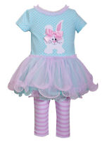 Bonnie Jean Little Girls Bunny Holiday Easter Multi Tutu Dress 2 pc Set 4 5 6 6X