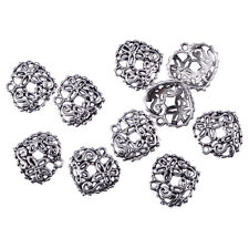 Heart floral filigree Tibetan Silver Bead charms Pendants fit bracelet 10pcs