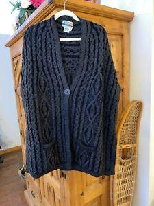 NEW Ireland Made Merino Wool Sweater Poncho XL/XXL Black Heather ARAN CRAFTS