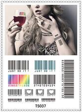 Barcode Temporary Tattoo Sticker DIY Keep 3-5 days Waterproof 14x9cm TS037