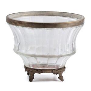 Vintage Art Deco Czech fluted crystal glass wheel cut Chandelier lamp body shade