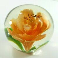 Large Hand Blown Crystal Clear Paperweight Orange Green Flower Honey Bee