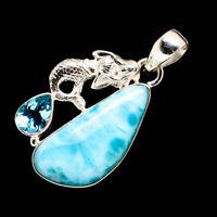 "Larimar, Blue Topaz Mermaid 925 Sterling Silver Pendant 1 1/2"" Jewelry P723086F"