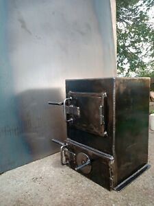 Wood burning solid fuel fire stove hand made Ireland ebay shed garage work shop