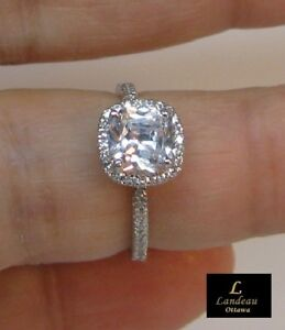 2.2 ct Paved White Diamond Promise Ring Silver