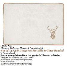 WINTER LANE 3D Xmas Deer Placemat White Silver Gold Metallic Glass Beaded set 4