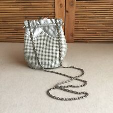 VINTAGE Silver LEATHER Grey MESH Evening HANDBAG Bag CHAIN Purse DISCO Party