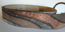 "Faux Snakeskin Belt Large Patchwork Design Manmade Material Brown 1 3/8"" Wide"