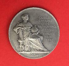 MEDAILLE / JETON de la CAISSE D'EPARGNE et de PREVOYANCE de PARIS 1894 en ARGENT