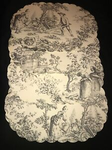 Rare! VTG French Country Black Toile Print Vinyl 4PC Oval Cushioned Placemats