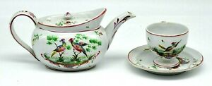 Antique French Faience Pottery Teapot Cup & Saucer Exotic Birds Manganese