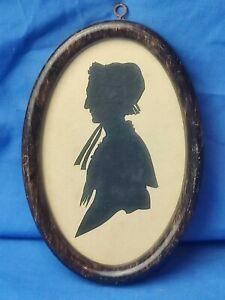 Antique Victorian Scissor Cut Framed Portrait Silhouette - Peggy Arland, b 1820