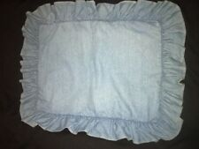 RALPH LAUREN Medium Blue Light Denim RL Flag One (1) Ruffled STD Pillow Sham
