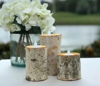 Birch Bark Log Candle Holders- Set of 3 - Rustic Chic - Centerpiece ~ Home Decor