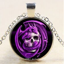 New Cabochon Glass Silver/Bronze/Black Pendant Necklace(Purple Dragon Skull