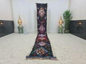 """Moroccan Handmade Vintage Runner Rug 2'2""""x15'1""""Berber Geometric Black Purple Rug"""