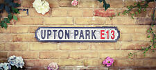 Vintage Style Antiqued Wooden London Street Sign, UPTON PARK E13 (WESTHAM)