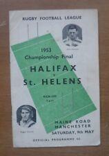 More details for halifax v st. helens, 09/05/1953 - championship final programme.