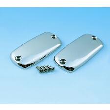 Honda VTX1800 S R/Retro T/Tourer -smooth CHROME Master Cylinder CAPS/LIDS (pair)