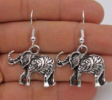 """925 Silver Plated Hook - 1.5"""" Vintage Elephant Style Women Earrings Jewelry #61"""