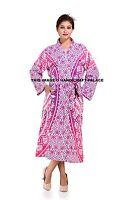 Indian Pink Ombre Mandala Printed Long Kimono Hippie Bohemian Bath Robe Intimate