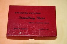 Vintage Staunton Pattern Travelling Chess Metal Playing Field by H B F