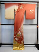 "Japanese kimono  ""HOUMONGI"" SILK, Gold leaf, a branch of flower,  L 65""..1634"