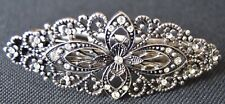NEW 8cm Silver crystal metal flower filigree barrette hair clip womens fashion