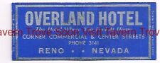1930s Overland Hotel Commercial & Center Sts Reno Nevada Matchcover
