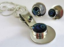 0.925 Sterling Silver Earrings/Pendant Set Abalone Shell Inlay Taxco, Silver