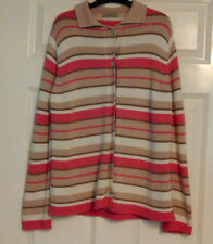 Marks and Spencer Beige Pink Long Sleeve Stripe Button Down Cardigan UK Size 14