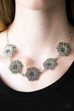 Paparazzi  Floral Fluorescence Silver Necklace & Earrings Set