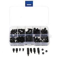 180X M3 Nylon Black M-F Hex Spacers Screw Nut Assortment Kit Stand off Set Hot