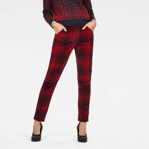 NEW G-Star Raw 5622 Mid Boyfriend Tapered Cord Check Red Women's Jeans W29 L29