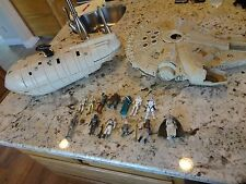 Vintage Star Wars Figure Lot Of 13 Original Rebel Transport, Millennium Falcon