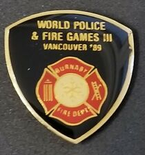 1989 WORLD POLICE and FIRE GAMES VANCOUVER * BURNABY FIRE DEPT  pin