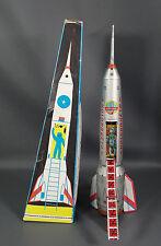 "15""60s Soviet Russian Space Ship Rocket Cosmonaut Friction Tin Toy Lemez Hungary"