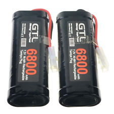 2x GTL 7.2V 6800mAh Ni-Mh Rechargeable Battery Pack RC Tamiya Plug Black