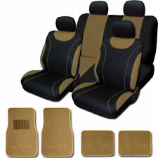 For Toyota New Flat Cloth Black and Tan Car Seat Covers Floor Mats Set