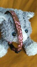 Fabric Cat Collar - Chocolate Brown & Floral Pink Batik Fabric, Simply Yummy