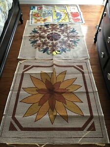 3 Vtg Latch Hook Rug Canvas Mid Century Retro Patterns 1 Nursery Baby ABCs