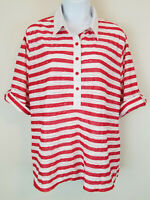 Cathy Daniels Top Red Striped Sheer Roll Tab Sleeves Candy Cane Blouse Size XL