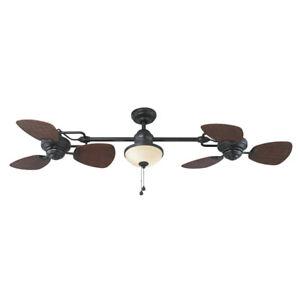 "74"" Ceiling Fan Indoor Outdoor Bronze Double Light Downrod Mount Reverse AirFlow"