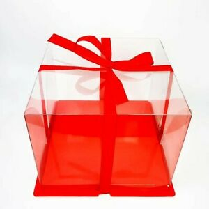 Clear Plastic Cake Box Bakery Pastry Birthday Red Brand New By Melamon 12x12x7