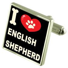 I Love My Dog Silver-Tone Cufflinks English Shepherd