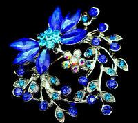 Delightful HEART Flower Dangle Bow PETALS Rhinestone Retro Vintage Brooch Blue