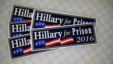 Hillary For Prison Blue Classic (Anti Hillary) Bumper Sticker Decal 5-Pack